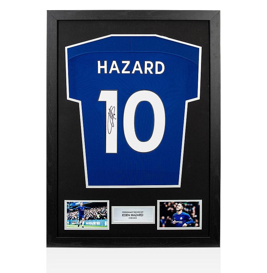 new concept c2844 62da4 Details about Framed Eden Hazard Signed Chelsea Shirt - 2017/2018 Number 10  Fan Style Number