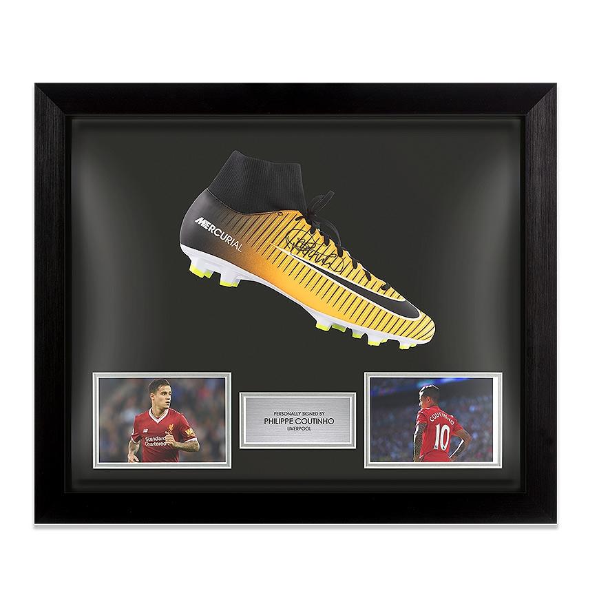 Separación prima traductor  Bota De Fútbol Firmada Enmarcada Philippe Coutinho Naranja Nike  Mercurial-Liverpool | eBay