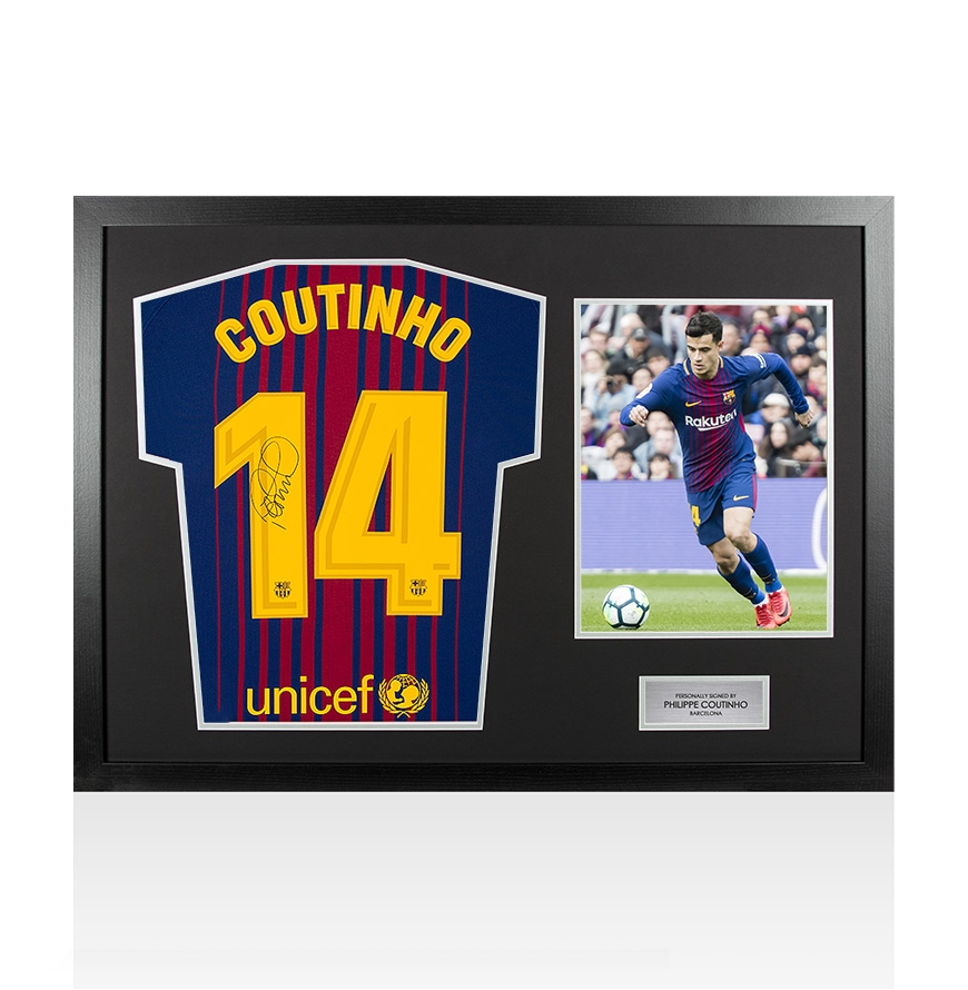 93262bc7114 PRE-FRAMED Philippe Coutinho Signed FC Barcelona 2017 18 Home Shirt Number  14 -