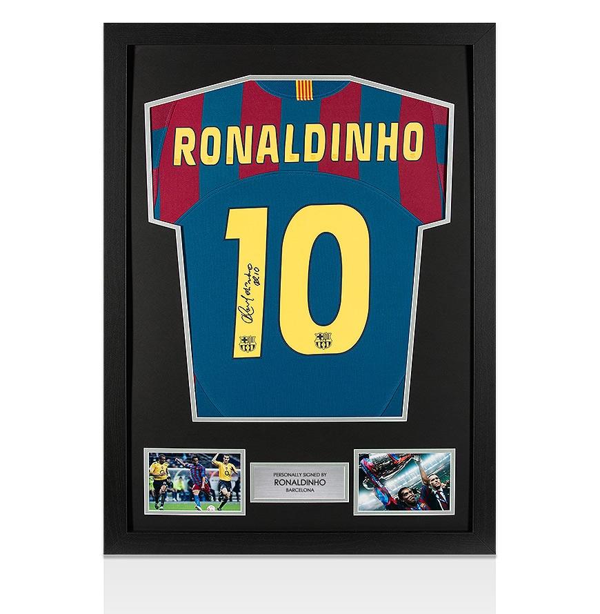 Framed Ronaldinho Signed Barcelona Shirt -2005/2006 Home Autograph ...