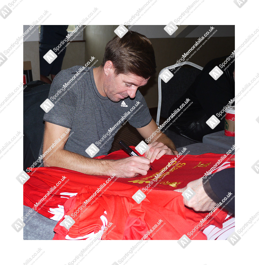 Luis Suarez Not Our C Any More: Steven Gerrard & Luis Suarez Signed Liverpool Shirt