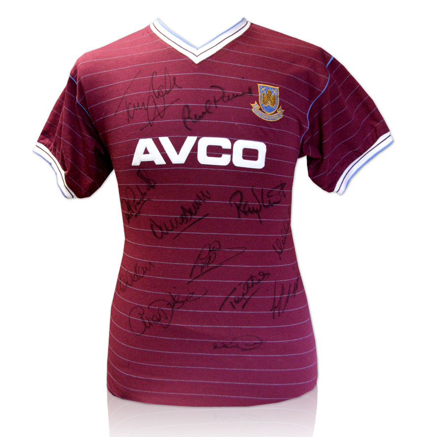 West Ham Multi Signed 1986 Home Shirt 12 Autographs
