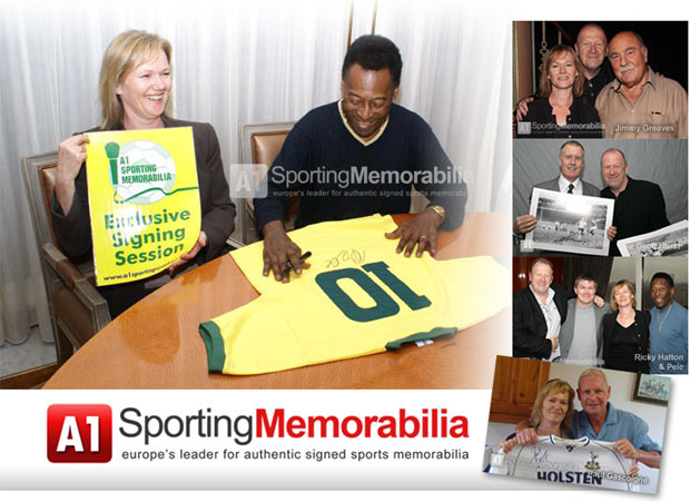 Terry and Freda Baker from A1 Sporting Memorabilia with sporting legends