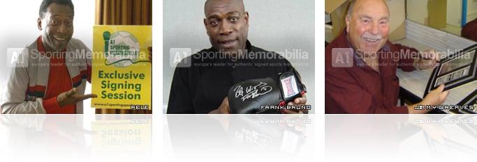 Hand signed sports memorabilia