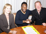 Terry and Freda Baker with Pele